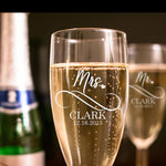 Personalized Engraved Wedding Toasting Glasses 2pc/set Mr. And Mrs. Wedding Flutes  Personalized Champagne