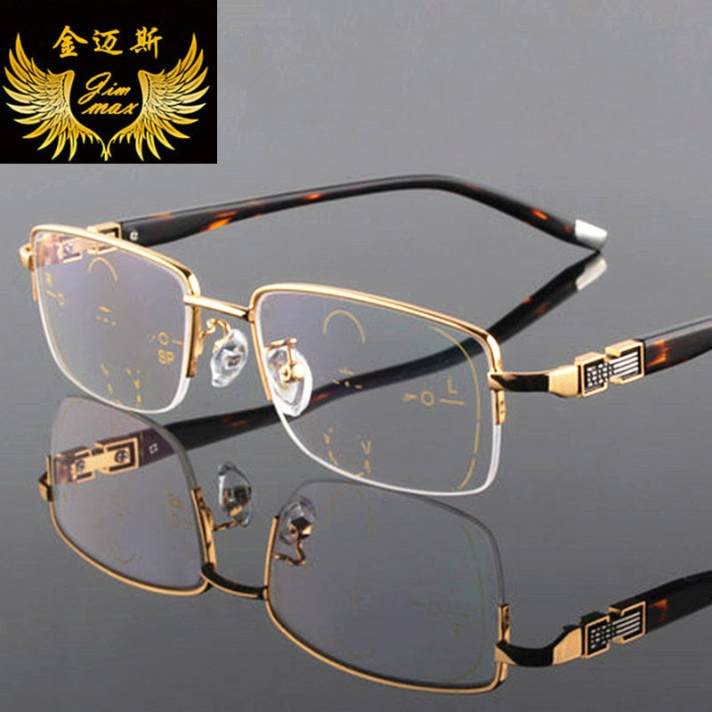 Progressive Reading Glasses Titanium Alloy Quality Square Half Rim Multifocal