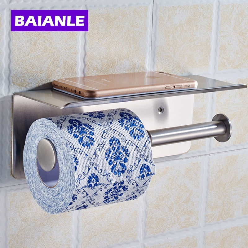 Double Toilet Paper Roll Holder Lengthen Stainless Steel Bathroom Rack Wall Mount