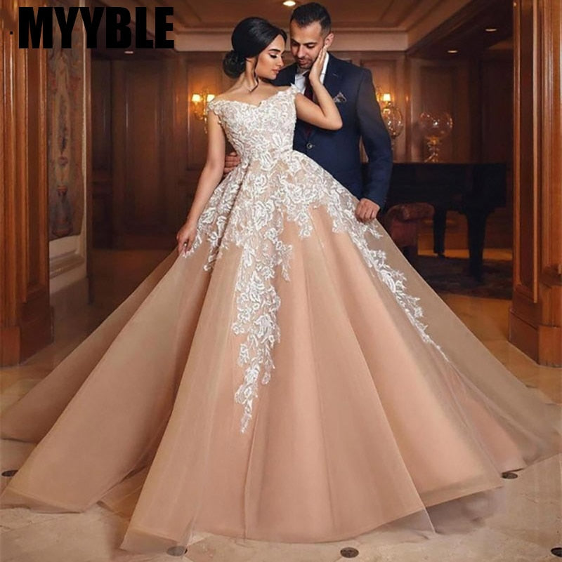 Champagne Off Shoulder Lace Up Back Bridal Gown Train