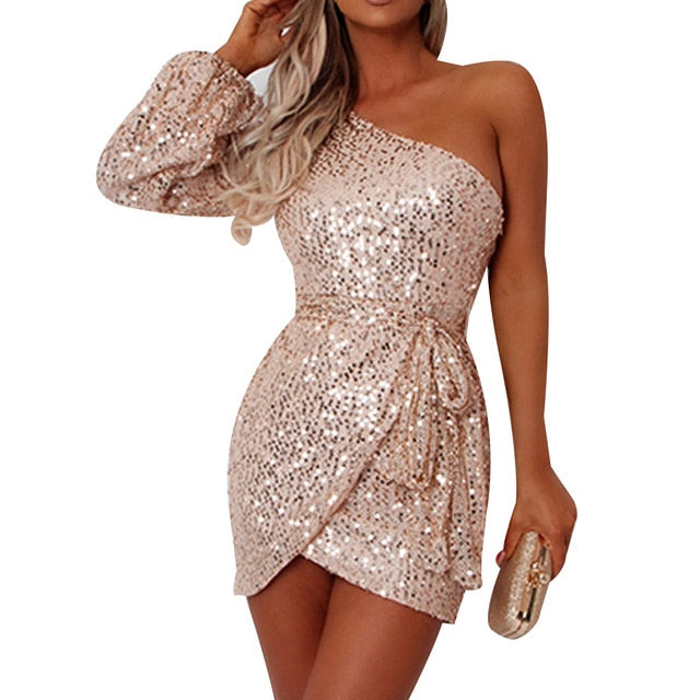 Bling Sequin Sexy Club Dress Long Sleeve One Shoulder Dress Party Night Dress Bodycon Wedding