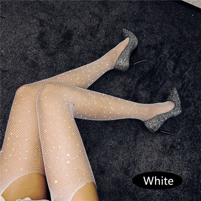Crystal Crotchless Pantyhose Large Size Hollow Out Mesh Lingerie Tights