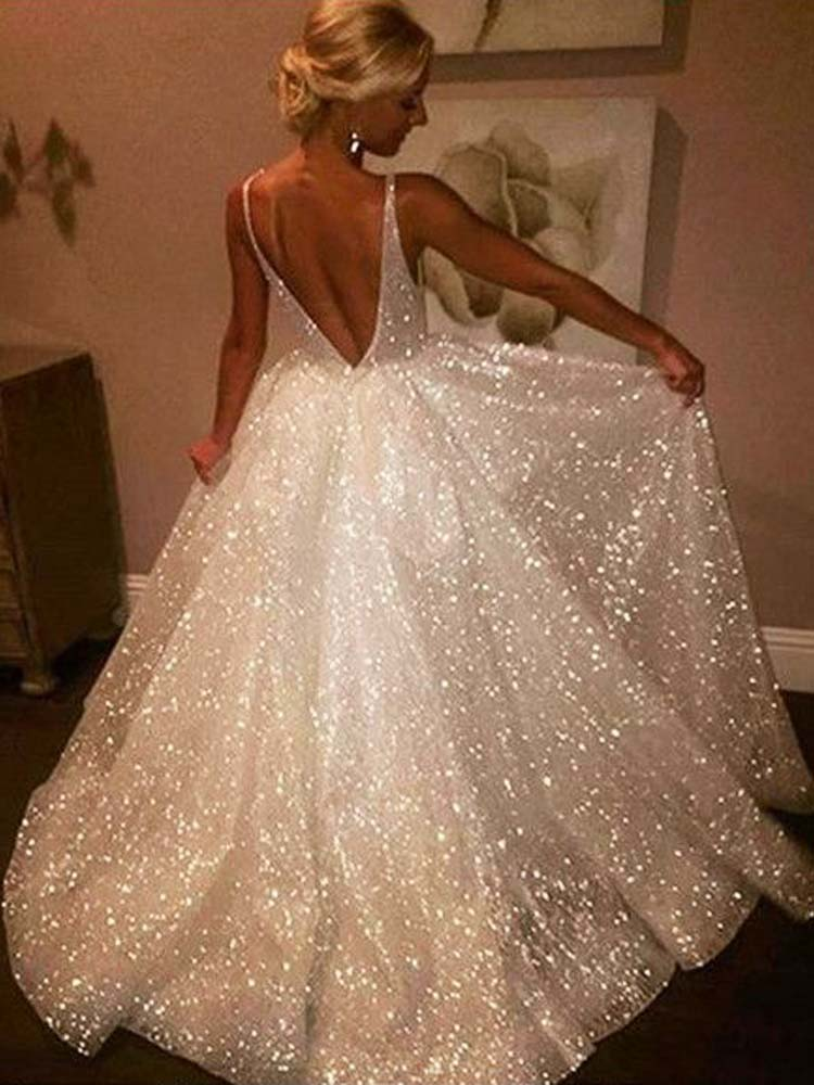 Sparkly A Line V Neck Backless Sequins White Long Wedding Dresses Wedding Gowns