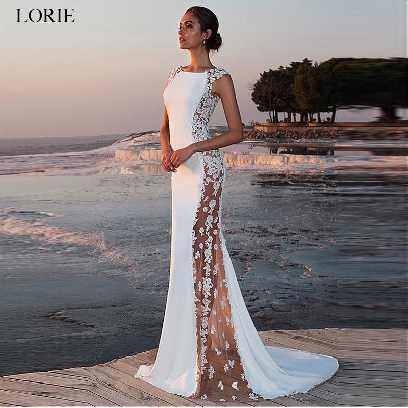 Bridal Gowns beach Sleeveless Satin Lace Wedding Dress Mermaid O-neck See-through