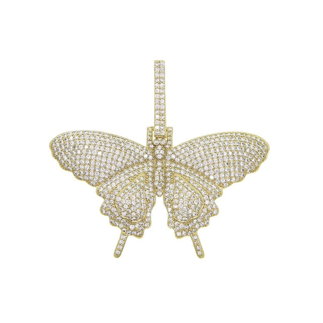 Sparking bling pink AAA cz Animal Butterfly pendant necklaces Rock fashion charm jewelry
