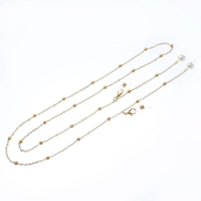 Gold Silver Eyeglass Chains Pearl Sunglasses Reading Beaded Glasses Chain Cord Holder Neck Strap Rope