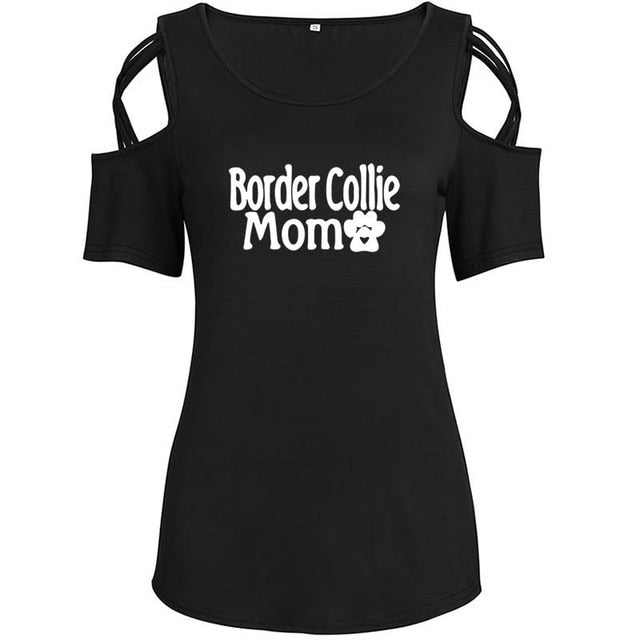 Plus Size Border Collie Mom Print Shirt T Shirt Summer Top