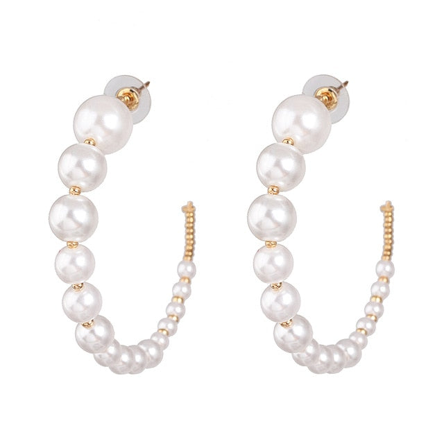 Bling Crystal Beaded Drop Earrings Pearl Earring Gold Color Earrings