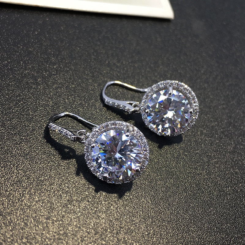 Bling Zircon Stone Silver Color Drop Korean Earrings with  for Women