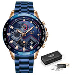 Stainless Steel Blue Waterproof Quartz Watch Men Fashion Chronograph Male Sport Military Watch