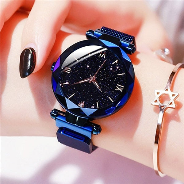 Starry Sky Women Watches Magnetic Mesh Belt Band Watch Women's Fashion Dress Wristwatch