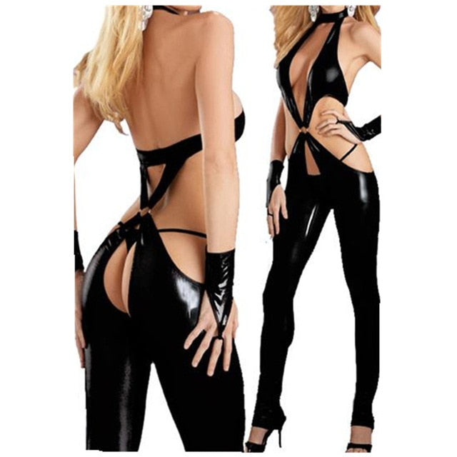 Open Crotch Lingerie Latex Women Bodysuit Black Catsuit Open Hips Plus Size