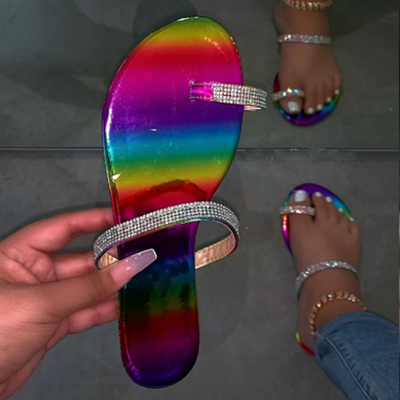 Bling Crystal Clip Toe Women Casual Flat Flip Flops Ladies Beach Shoes