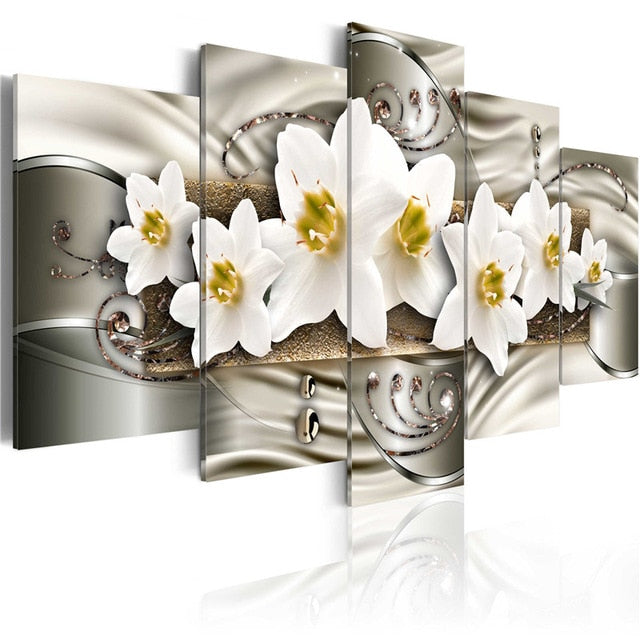 Bling Wall Art 5 Pieces Classical Flowers Poster Elegant Lilies Blossom Canvas Painting Pictures