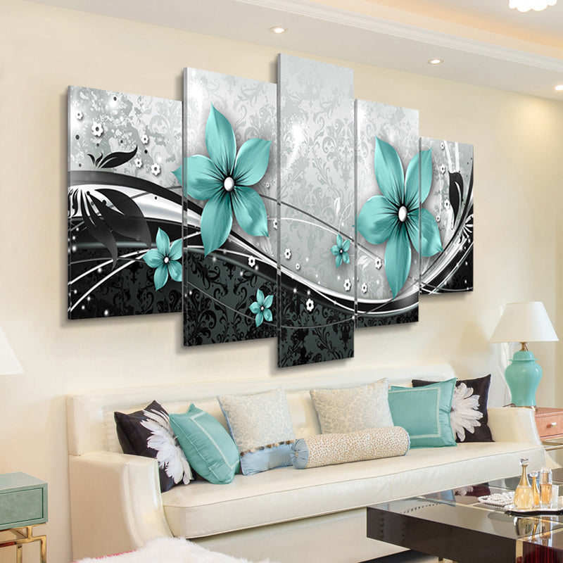 Gorgeous Blue Flower Posters and Prints Unframed Wall Art Wall Pictures for Living Room
