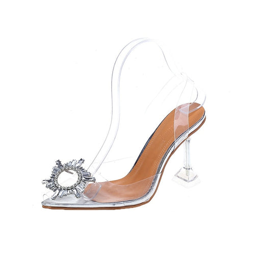 Bling Crystal Shoes Transparent Sandals Elegant Sky High Heels Woman Sexy Ladies Party Club Dress Shoes