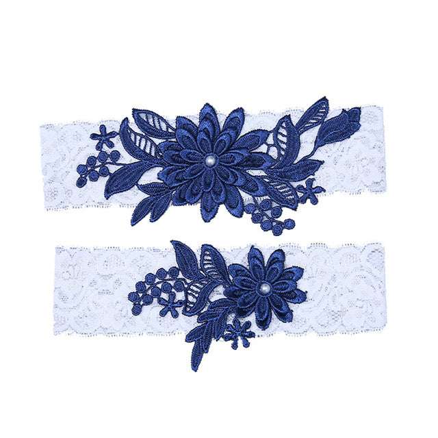 Navy White 2pcs Wedding Garter Embroidery Floral Sexy Garters Bridal Lace Leg