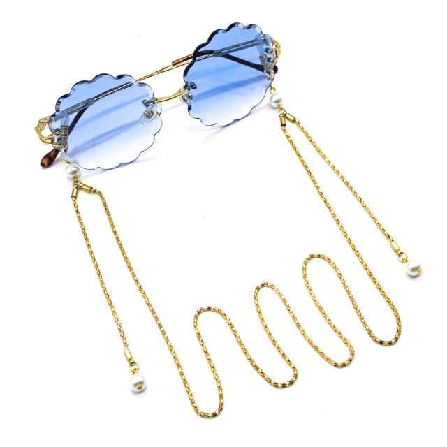 Reading Glasses Chain For Women Women Metal Sunglasses Casual Pearl Beaded Eyeglass Chain for Glasses