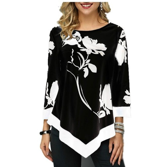 Spring Floral Printed Women Shirt Asymmetric Hem Blouse Shirt For Woman Flower Print Tops O Neck