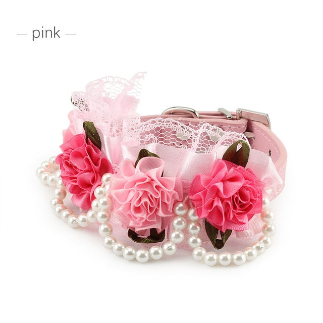 Pet Bling Wedding Flower Small Dog Collars Princess Lace Necklace