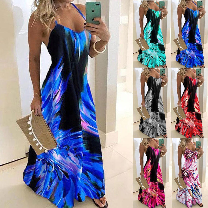 S-5XL Vintage Leaf Print Dress Sexy Spaghetti Strap V Neck Long Dress Women Summer Big Swing Beach Dresses Party Tunic