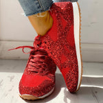 Glitter Sneakers Casual Female Mesh Lace Up Bling Platform Comfortable Plus Size Vulcanized Crystal Shining Shoes