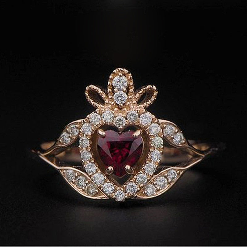 Bling Red CZ Zircon Stone Heart Rose Gold Rings for Women Party Wedding Engagement Fashion Jewelry