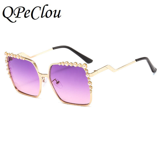 Pearl Sunglasses Designer Oversized Square Sun Glasses