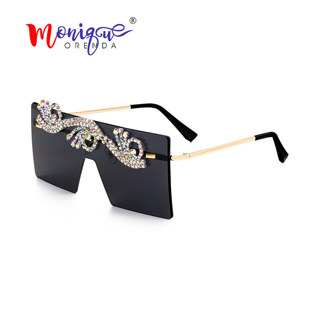 Oversized Crystal Sunglasses Women Luxury Rhinestone Frameless Shades