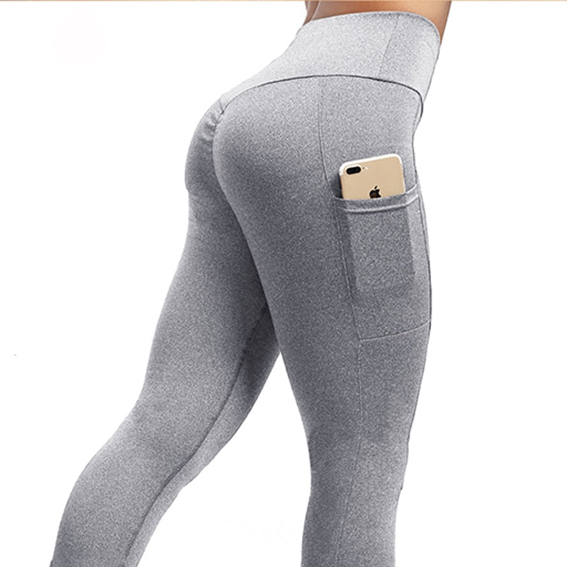 NORMOV Women Leggings Plus Size Solid Casual Color High Waist Pocket Leggins Push Up Elastic Workout Push Up Fitness Legings