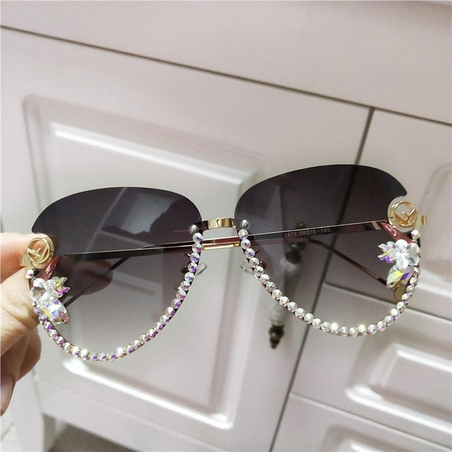 Crystal sunglasses rimless cat floral eye sunglasses Fashion sunglasses
