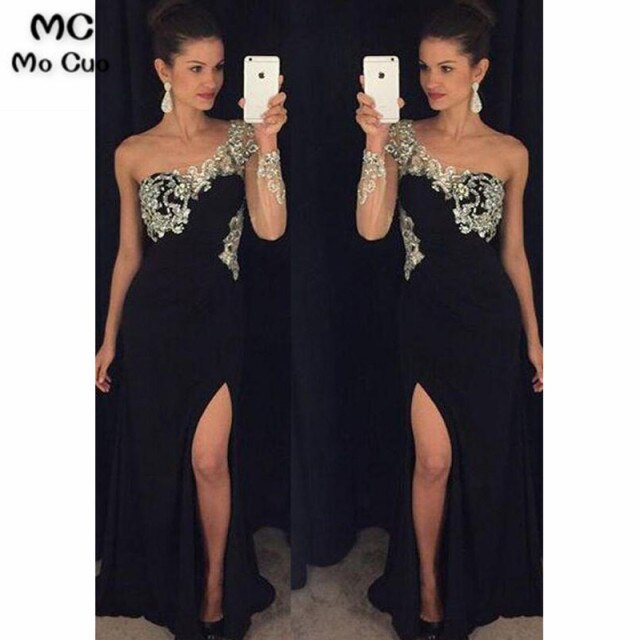 2020 One Shoulder Evening Dresses Long with Crystals Beaded Long Sleeves Front Slit Chiffon Evening Party Dress for Women