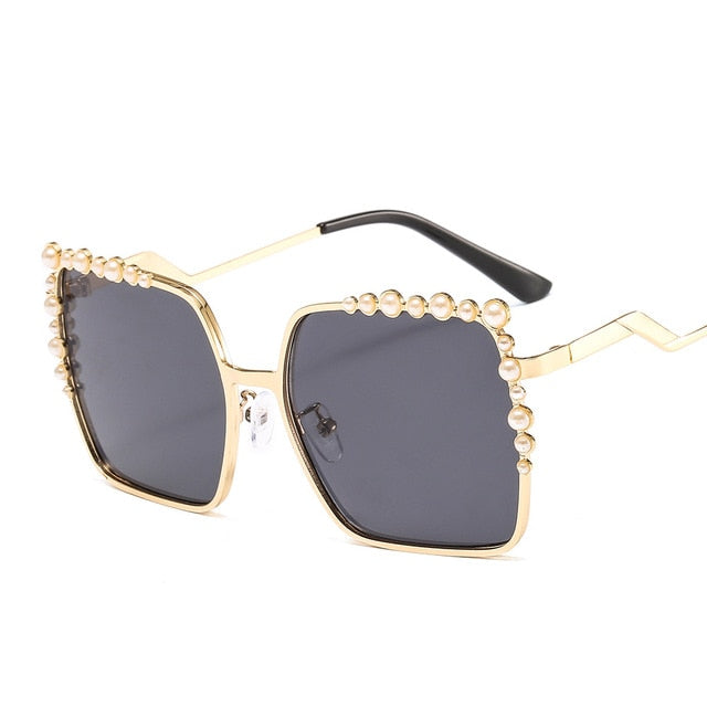 46340 Pearl Square Luxury Metal Frame Sunglasses Men Women Fashion Shades UV400 Vintage Glasses