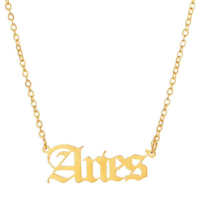 Pendant Zodiac Letters Necklace Old English Font Style