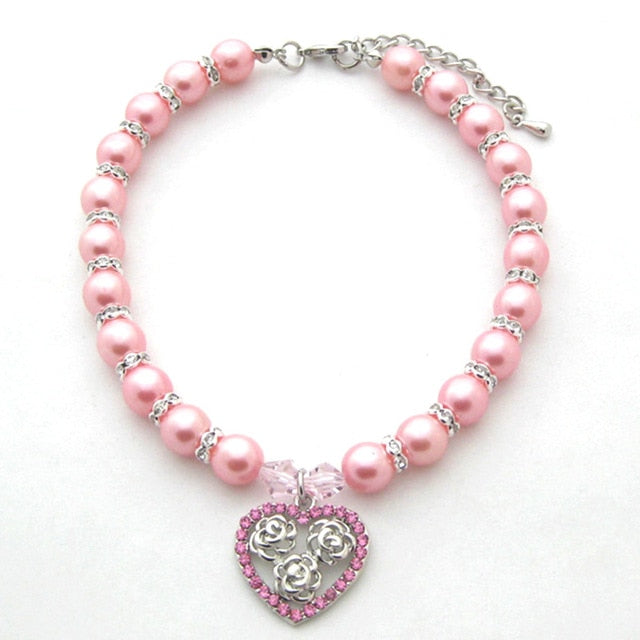 Pearls Necklace Dog Cat Collar with Rhinestones Heart & rose Charm Pendant Pet Puppy Jewelry