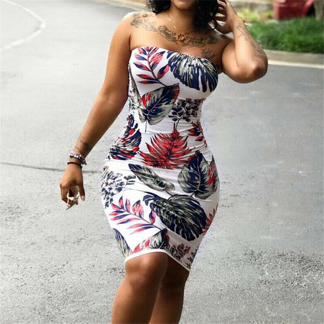Floral Printed Strapless Women Sleeveless Dress Plus Size S-3XL