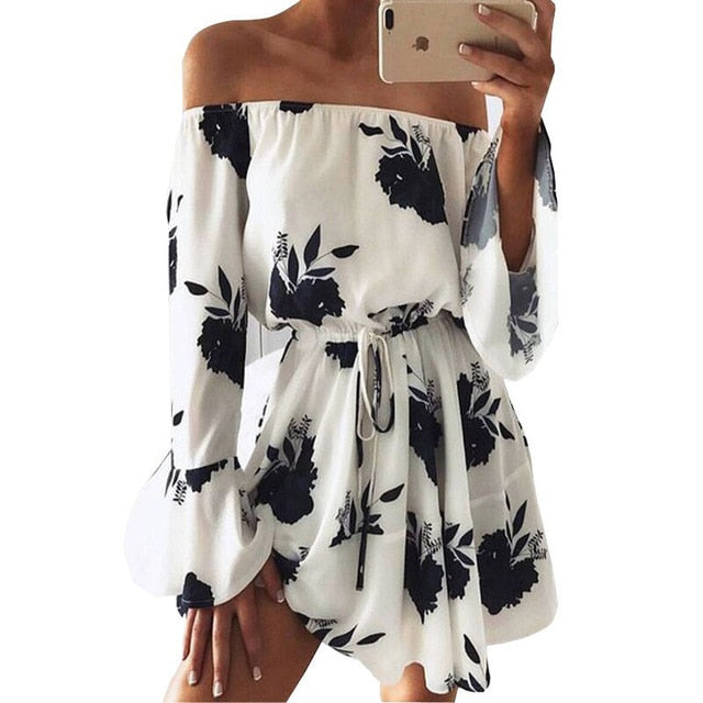 Off the Shoulder Women Summer  Beach Floral Boho Dress Loose Printing Sexy