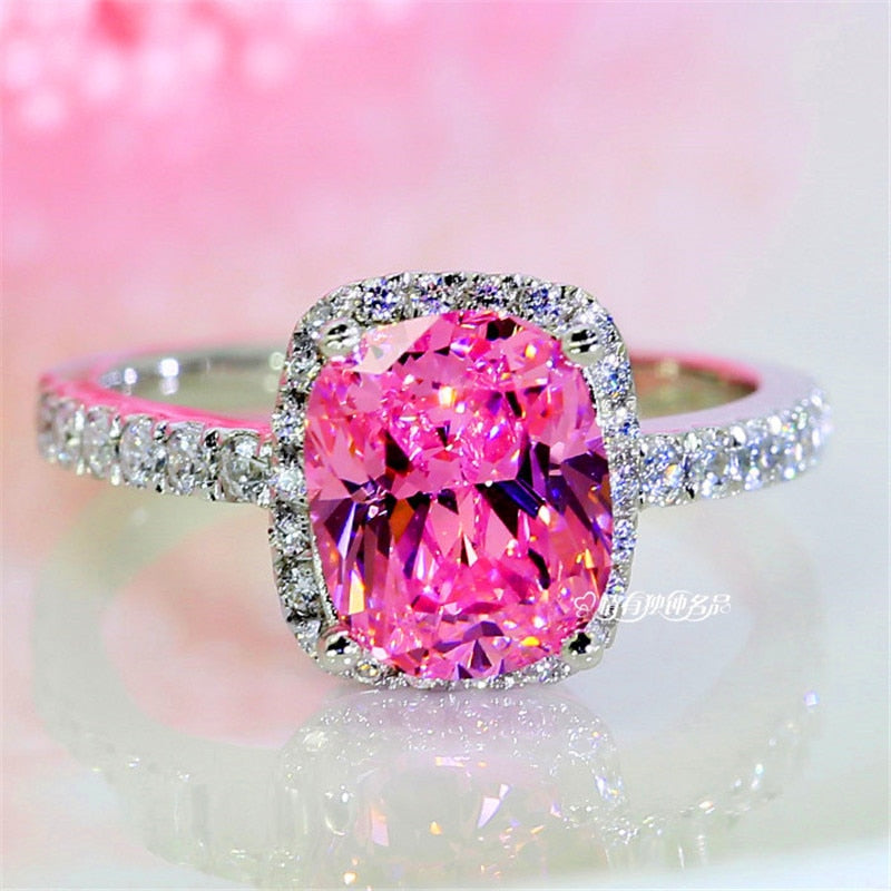Bling Pink Stone Ring 925 Sterling Silver Wedding Band Ring Promise Love Engagement Rings