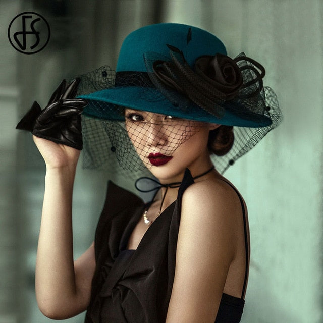 Wide Brim Felt Hats Bow Veil Fedoras Hat Big Flower Blue Black Bowler Cap