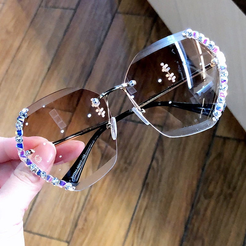 Oversized Bling Rimless Sunglasses Women Luxury Brand Design