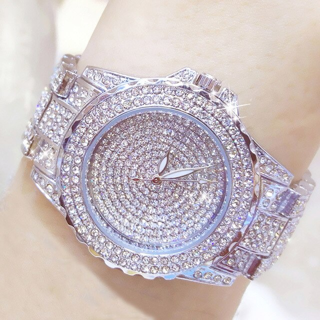 Full Diamond Watches Gold Women Crystal Luxury Brand Bling Rhinestone Wrist Watch Ladies Stainless Steel Clock Relogio Feminino