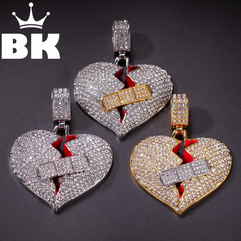 THE BLING KING Custom A broken heart with a bandage Necklace Hip Hop Full Iced Out Rhinestone gold sliver  Stone
