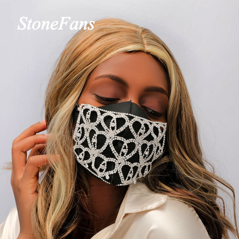 Bling Rhinestone Face Mask Heart Fashion Jewelry for Women Bling Crystal