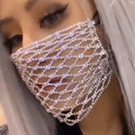 Bling Rhinestone Mask for Women Fashion Elastic Mask Crystal Decorative Mask
