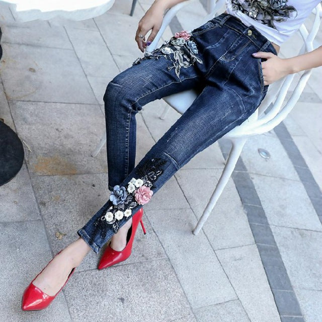 Bling Flower Embroidery Jeans Stretch Skinny Jeans Pencil Pants
