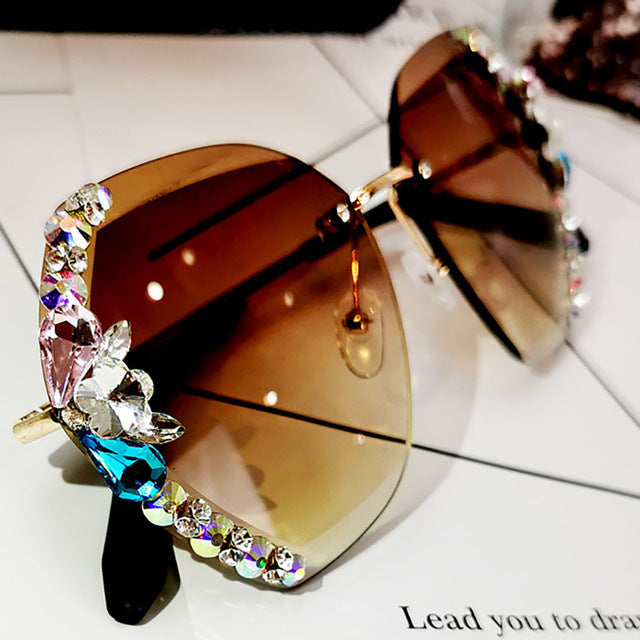 Rhinestone Sun Glasses Rimless Sunglasses Gradient Lens Eyeglasses