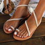 Summer Flat Sandals Sweet Boho Pearl Decoration Sandals Leather Flats Plus Size Women Beach Sand Holiday Shoes