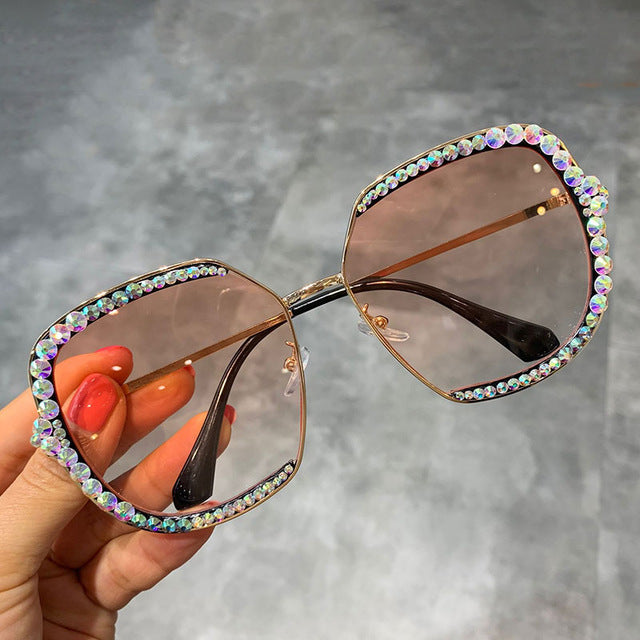 Oversized Bling Luxury Vintage Sunglasses Diamond Shades Eyeglasses