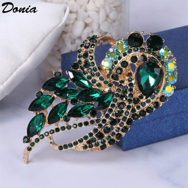 Bling Coat scarf accessories alloy brooch color large glass brooch gift brooch