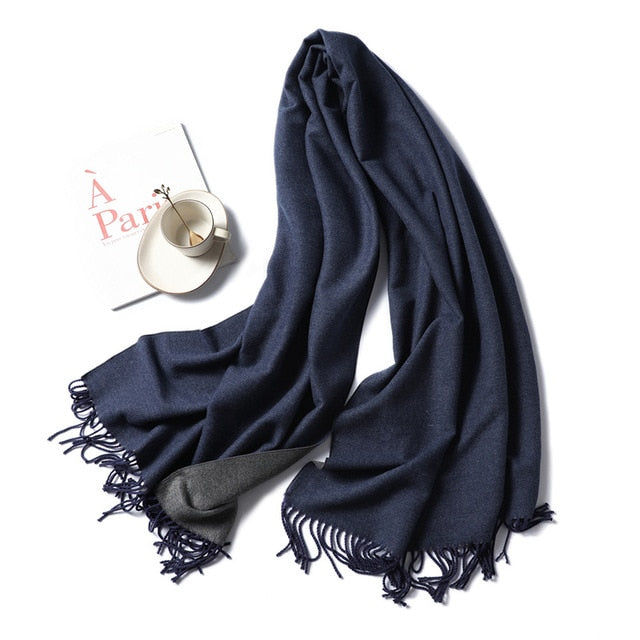 Winter Cashmere Scarf Women Thick Warm Shawls Wraps Lady Solid Scarves Fashion Tassels Pashmina Blanket quality foulard 2020 New
